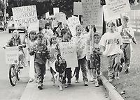 1987 FILE PHOTO - ARCHIVES -<br /> <br /> Youngsters came out with their parents and their mascot - a German shepherd named Grizzly - to support teachers on the picket line at John Wanless Junior Public School on Brookdale Ave. yesterday. But while they enjoyed the outing; the children agreed they really would rather be in school. Talks between teachers and school boards resumed this morning.<br /> <br /> 1987<br /> <br /> PHOTO :  Erin Comb - Toronto Star Archives - AQP