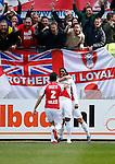 Nederland, Utrecht, 5 april 2015<br /> Eredivisie<br /> Seizoen 2014-2015<br /> FC Utrecht-Ajax (1-1)<br /> Spelers van FC Utrecht omhelzen Gevero Markiet van FC Utrecht na zijn doelpunt