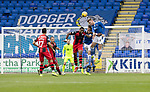 St Johnstone v St Mirren……29.08.20   McDiarmid Park  SPFL<br />Jamie McCart and Murray Davidson clear from Jon Obika<br />Picture by Graeme Hart.<br />Copyright Perthshire Picture Agency<br />Tel: 01738 623350  Mobile: 07990 594431