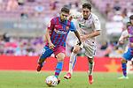 FC Barcelona's Jordi Alba (l) and Getafe CF's Jaime Mata during La Liga match. August 29, 2021. (ALTERPHOTOS/Acero)