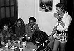 HELMUT BERGER CON URSULA ANDRESS, BETTINA GRAZIANI <br /> FESTA PER I 30 ANNI DI HELMUT BERGER JACKIE O' ROMA 1974