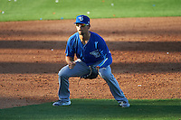 Dunedin Blue Jays third baseman Dickie Joe Thon (2) during a game against the Clearwater Threshers on April 8, 2016 at Bright House Field in Clearwater, Florida.  Dunedin defeated Clearwater 8-3.  (Mike Janes/Four Seam Images)