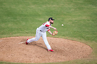 Mesa Solar Sox relief pitcher Mike Shawaryn (55), of the Boston Red Sox organization, delivers a pitch during an Arizona Fall League game against the Peoria Javelinas at Sloan Park on October 11, 2018 in Mesa, Arizona. Mesa defeated Peoria 10-9. (Zachary Lucy/Four Seam Images)