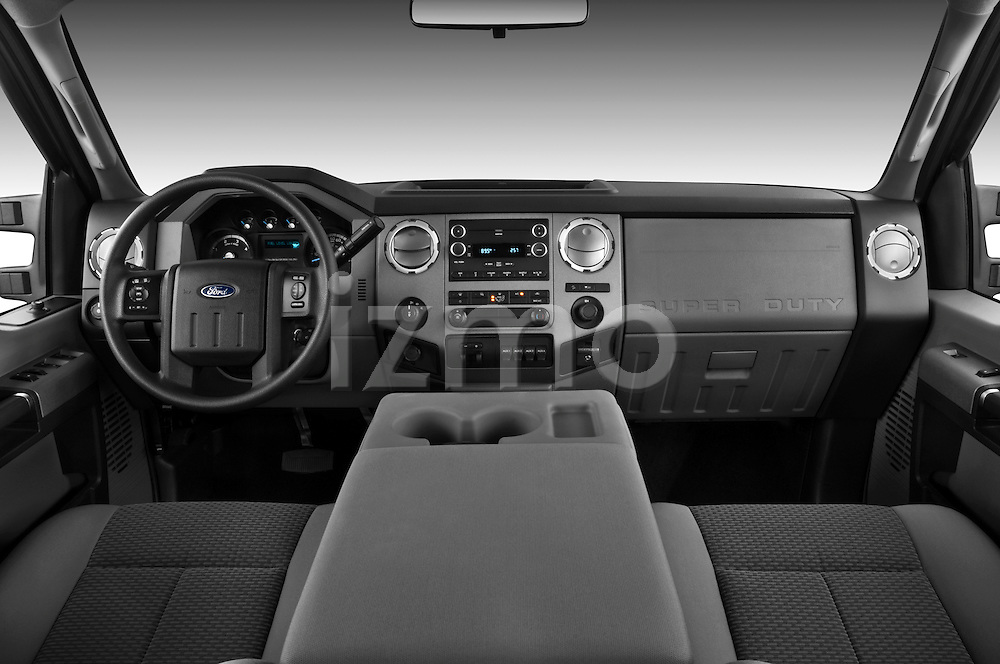 Straight dashboard view of a 2011 Ford F-250 Crew Cab 4x4.