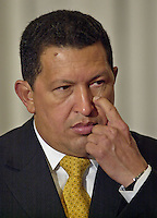 Venezuela's President Hugo Chavez  gestures during the ceremony of delivery of keys of the  city  in Montevideo,Uruguay,Saturday,August 16, 2003. .Marcelo Hernandez/Archivo Latino..