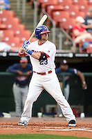 Buffalo Bisons designated hitter Brett Carroll (23) at bat during a game against the Gwinnett Braves on May 13, 2014 at Coca-Cola Field in Buffalo, New  York.  Gwinnett defeated Buffalo 3-2.  (Mike Janes/Four Seam Images)