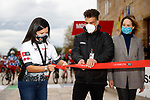 Cutting the ribbon before the start of Stage 15 of the Vuelta Espana 2020, running 230.8km from Mos to Puebla de Sanabria, Spain. 5th November 2020. <br /> Picture: Luis Angel Gomez/PhotoSportGomez | Cyclefile<br /> <br /> All photos usage must carry mandatory copyright credit (© Cyclefile | Luis Angel Gomez/PhotoSportGomez)