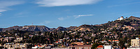 A panoramic view of the Hollywood Hills from the Griffith Observatory to just past the Hollywood sign, California.