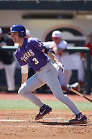 Hal Hughes (3) of the LSU Tigers follows through on his swing against the Georgia Bulldogs at Foley Field on March 23, 2019 in Athens, Georgia. The Bulldogs defeated the Tigers 2-0. (Brian Westerholt/Four Seam Images)