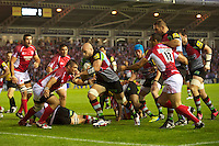 George Robson of Harlequins sniffs out the tryline during the Aviva Premiership match between Harlequins and London Welsh at the Twickenham Stoop on Friday 7th September 2012 (Photo by Rob Munro)
