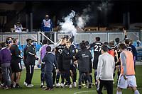 SAN JOSE, CA - NOVEMBER 04: San Jose Earthquakes players celebrate after a game between Los Angeles FC and San Jose Earthquakes at Earthquakes Stadium on November 04, 2020 in San Jose, California.