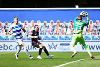 24th April 2021; The Kiyan Prince Foundation Stadium, London, England; English Football League Championship Football, Queen Park Rangers versus Norwich; Emi Buendia of Norwich City shows his frustration as Seny Dieng of Queens Park Rangers collects the through ball