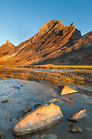 Morning light on Arial and Caliban peaks, Arrigetch Peeks, Arrigetch creek, Gates of the Arctic National Park, Alaska.