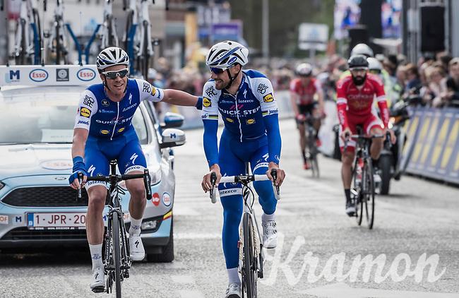 Iljo Keisse (BEL/Quick-Step floors) embraces Tom Boonen (BEL/Quick-Step Floors) crossing the finish line in his last ever (farewell) race on Belgian soil<br /> <br /> 105th Scheldeprijs 2017 (1.HC)<br /> 1 Day Race: Mol › Schoten (BEL/202km)