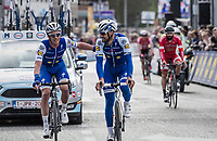 Iljo Keisse (BEL/Quick-Step floors) embraces Tom Boonen (BEL/Quick-Step Floors) crossing the finish line in his last ever (farewell) race on Belgian soil<br /> <br /> 105th Scheldeprijs 2017 (1.HC)<br /> 1 Day Race: Mol › Schoten (BEL/202km)