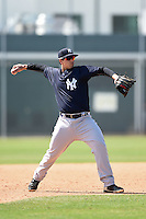 New York Yankees Matt Duran (46) during a minor league spring training game against the Pittsburgh Pirates on March 28, 2015 at Pirate City in Bradenton, Florida.  (Mike Janes/Four Seam Images)