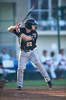 Missoula Osprey Joe Robbins (22) at bat during a Pioneer League game against the Great Falls Voyagers at Centene Stadium at Legion Park on August 19, 2019 in Great Falls, Montana. Missoula defeated Great Falls 4-1 in the first game of a doubleheader. Games were moved from Missoula after Ogren Park at Allegiance Field, the Osprey's home field, was ruled unplayable. (Zachary Lucy/Four Seam Images)