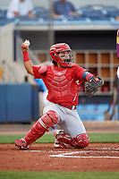 Palm Beach Cardinals catcher Jose Godoy (27) throws back to the pitcher during a game against the Charlotte Stone Crabs on April 21, 2018 at Charlotte Sports Park in Port Charlotte, Florida.  Charlotte defeated Palm Beach 5-2.  (Mike Janes/Four Seam Images)
