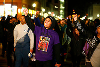 Khalil Darden, 18, of Penn Hills, leads a group of protestors through the East Liberty neighborhood after the not guilty verdict was reached by jurors for former East Pittsburgh police officer Michael Rosfeld in the killing of 17-year-old Antwon Rose Jr. (Photo by Jared Wickerham/Pittsburgh City Paper)