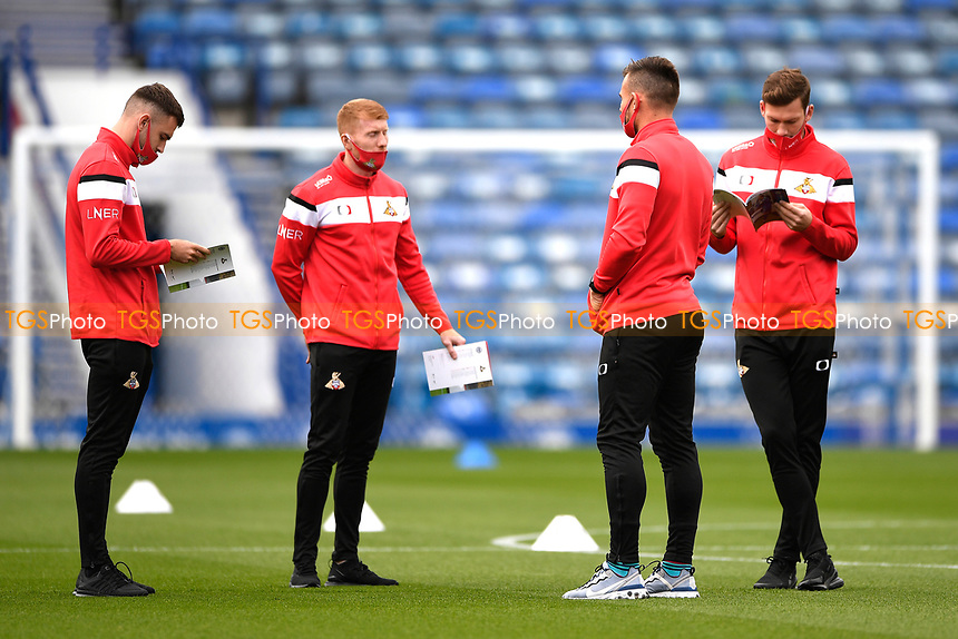 Doncaster Rovers layers inspect the pitch during Portsmouth vs Doncaster Rovers, Sky Bet EFL League 1 Football at Fratton Park on 17th October 2020