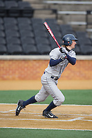 Joseph Bialkowski (3) of the Georgetown Hoyas follows through on his swing against the Bucknell Bison at Wake Forest Baseball Park on February 14, 2015 in Winston-Salem, North Carolina.  The Hoyas defeated the Bison 8-5.  (Brian Westerholt/Four Seam Images)