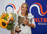 Hilversum, Netherlands, August 13, 2016, National Junior Championships, NJK, Prizegiving, winner girl's single 14 years : Kim Hansen<br /> Photo: Tennisimages/Henk Koster
