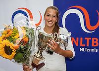 Hilversum, Netherlands, August 13, 2016, National Junior Championships, NJK, Prizegiving, winner girl's single 14 years : Kim Hansen<br /> Photo: Tennisimages/Henk Koster