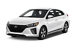 2018 Hyundai Ioniq Plug-In Hybrid Base 5 Door Hatchback angular front stock photos of front three quarter view