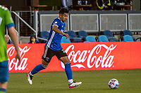 SAN JOSE, CA - MAY 12: Andres Rios #25 of the San Jose Earthquakes dribbles the ball during a game between San Jose Earthquakes and Seattle Sounders FC at PayPal Park on May 12, 2021 in San Jose, California.