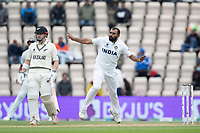 Mohammad Shami, India follows through as Henry Nicholls backs up during India vs New Zealand, ICC World Test Championship Final Cricket at The Hampshire Bowl on 22nd June 2021