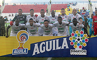MONTERÍA - COLOMBIA ,05-10-2019: Formación del Once Caldas.Acción de juego entre los equipos  Jaguares de Córdoba y Once Caldas durante partido por la fecha 15 de la Liga Águila II 2019 jugado en el estadio Municipal Jaraguay de Montería . /Team of Once Caldas.Action game between teams  Jaguares of Cordoba and Once Caldas during the match for the date 15 of the Liga Aguila II 2019 played at Municipal Jaraguay Satdium in Monteria City . Photo: VizzorImage / Contribuidor.