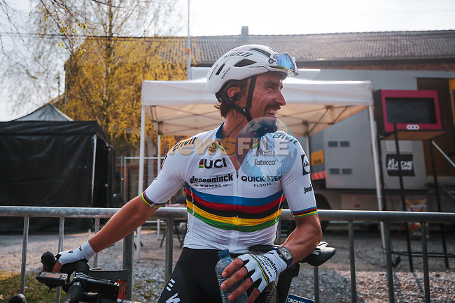 World Champion Julian Alaphilippe (FRA) Deceuninck-Quick Step wins the 2021 Flèche-Wallonne, running 193.6km from Charleroi to Huy, Belgium. 21st April 2021.  <br /> Picture: A.S.O./Aurélien Vialatte   Cyclefile<br /> <br /> All photos usage must carry mandatory copyright credit (© Cyclefile   A.S.O./Aurélien Vialatte)