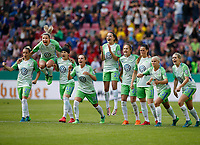 Football, Koeln, Germany , DFB-Pokalfinale wifeen,, <br />VFL Wolfsburg (WOB ) vs. FC Bayern M Muenchen 3-2 n.E.  Rhein-Energie stadium  in Koeln19. 05. 2018<br />Isabel KERSCHOWSKI (VFL),Zsanett JAKABFI (VFL), Ella MASAR (VFL), Noelle MARITZ (VFL), Joelle  WEDEMEYER (VFL) ,Caroline GRAHAM HANSEN (VFL), Sara Bjšrk GUNNARSDOTTIR (VFL),Pernille HADER (VFL),Lena GOESSLING(VFL) , v.n.- <br /><br /><br /> *** Local Caption *** © pixathlon<br /> Contact: +49-40-22 63 02 60 , info@pixathlon.de