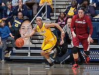 Brittany Boyd of California dribbles the ball during the game against Washington State at Haas Pavilion in Berkeley, California on February 27th, 2014.   California defeated Washington State, 75-68.
