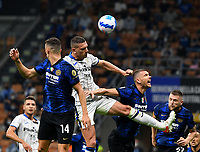 Calcio, Serie A: Internazionele Milano vds Atalanta Bergamasca Calcio Giuseppe Meazza stadium, Milan, September 25, 2021.<br /> Atalanta's Merih Demiral (R) in action with Inter's Ivan Perisic (L) during the Italian Serie A football match between Inter and Atalanta at Giuseppe Meazza stadium, on September 25, 2021.<br /> UPDATE IMAGES PRESS/Isabella  Bonotto