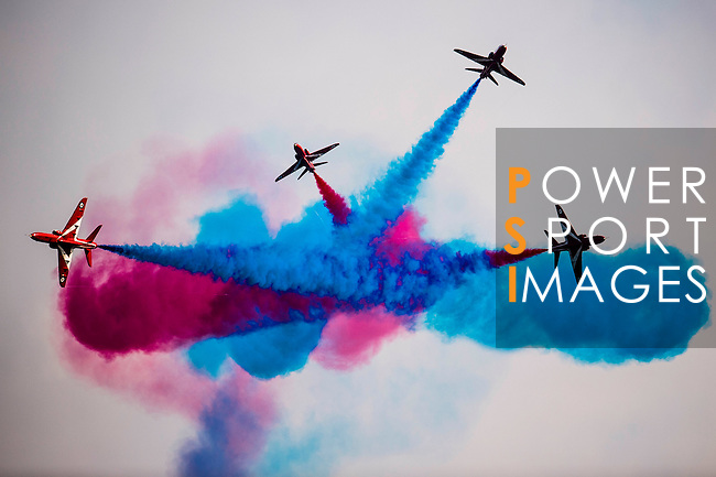 Britain's Royal Air Force aerobatic display team (aka Red Arrows) perform in a formation flying at the China International Aviation & Aerospace Exhibition (Airshow China 2016) at China International Aviation Exhibition Center on 02 November 2016, in Zhuhai, China. Photo by Marcio Machado / Power Sport Images
