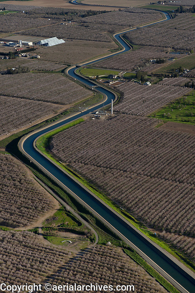 aerial photograph of California Central Valley aqueduct at orchards