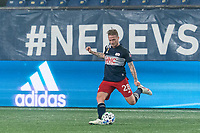 FOXBOROUGH, MA - SEPTEMBER 02: Alexander Buttner #28 of New England Revolution passes the ball2 during a game between New York City FC and New England Revolution at Gillette Stadium on September 02, 2020 in Foxborough, Massachusetts.