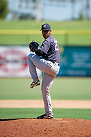 New York Yankees pitcher Pedro Barrios (27) delivers a pitch during a Florida Instructional League game against the Philadelphia Phillies on October 12, 2018 at Spectrum Field in Clearwater, Florida.  (Mike Janes/Four Seam Images)