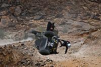 7th January 2021; Riyadh to Buraydah, Saudi Arabia; Dakar Rally, stage 5;  #440 Becquart Patrick (fra), Becquart Romain (fra), Can-Am, BBR/Mercier, SSV Series - T4, leaps away from his vehicle as it rolls during the 5th stage of the Dakar 2021 between Riyadh and Al Qaisumah, in Saudi Arabia on January 7, 2021