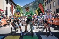 Wout van Aert (BEL/Jumbo - Visma) greeting Jakob Fuglsang (DEN/Astana) at the start of the stage<br /> <br /> Stage 8: Cluses (FRA) to Champéry (SUI)(113km)<br /> 71st Critérium du Dauphiné 2019 (2.UWT)<br /> <br /> ©kramon