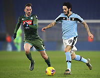 Football, Serie A: S.S. Lazio - Napoli, Olympic stadium, Rome, January 11, 2020.<br /> Lazio's Luis Alberto Romero (r) in action with Napoli's Fabian Ruiz (l) during the Italian Serie A football match between S.S. Lazio and Napoli at Rome's Olympic stadium, Rome , on January 11, 2020.<br /> UPDATE IMAGES PRESS/Isabella Bonotto