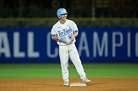 Brendan Illies (43) of the North Carolina Tar Heels is all smiles as he stands on second base after hitting a pinch-hit RBI double against the Miami Hurricanes in the second semifinal of the 2017 ACC Baseball Championship at Louisville Slugger Field on May 27, 2017 in Louisville, Kentucky.  The Tar Heels defeated the Hurricanes 12-4.  (Brian Westerholt/Four Seam Images)