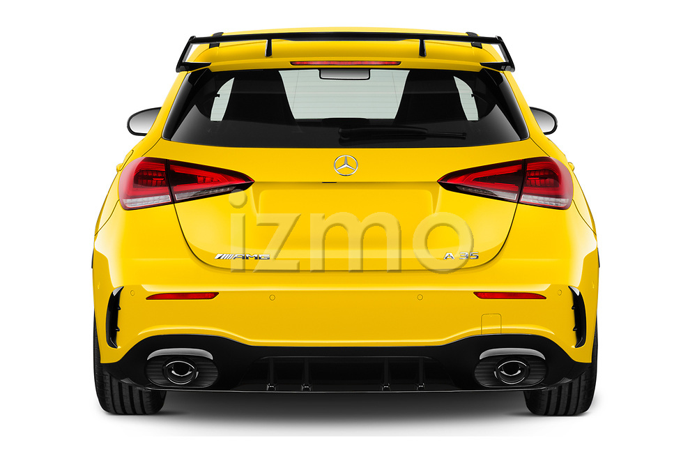 Straight rear view of 2019 Mercedes Benz A-Class - 5 Door Hatchback Rear View  stock images