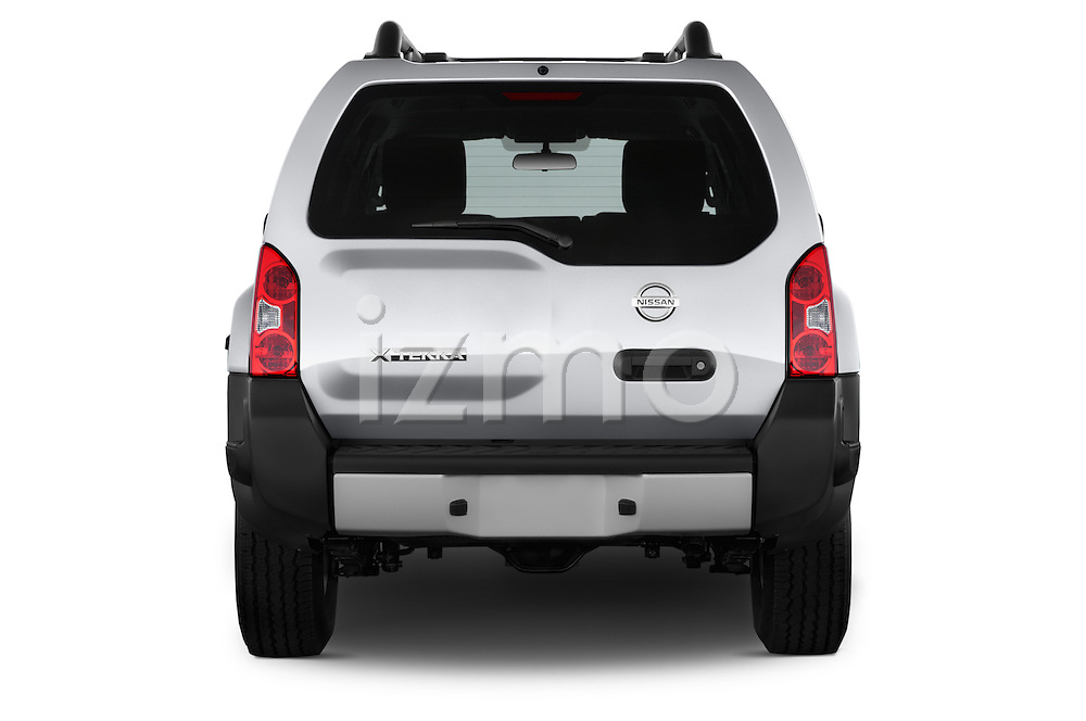 Straight rear view of2014 Nissan Xterra S 5 Door Suv Rear View  stock images