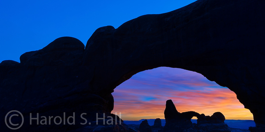 Looking through the North Window at Arches National Park in Utah one can see Turret Arch.