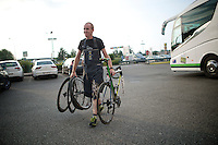 back at the hotel the mechanic fetches the bikes from the teambus to get cleaned and checked before the next stage tomorrow<br /> <br /> 2014 Tour de France<br /> stage 18: Pau - Hautacam (145km)