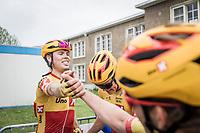 race winner Rasmus Tiller (NOR/Uno-X) congratulated by teammate<br /> <br />  17th Dwars Door Het Hageland 2021<br /> One Day Race: Aarschot – Diest 18Okm (UCI 1.Pro)<br /> Bingoal Cycling Cup 2021<br /> <br /> ©kramon