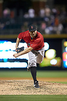 Indianapolis Indians relief pitcher Tyler Lyons (49) follows through on his delivery against the Charlotte Knights at BB&T BallPark on April 27, 2019 in Charlotte, North Carolina. The Indians defeated the Knights 8-4. (Brian Westerholt/Four Seam Images)