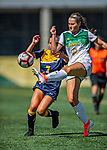 1 September 2019: University of Vermont Catamount Defender/Midfielder Eliza Green, a Sophomore from Haverford, PA, battles Merrimack College Warrior Forward Vanessa Wainwright, a Freshman from Schenectady, NY, in Game 3 of the TD Bank Women's Soccer Classic at Virtue Field in Burlington, Vermont. The Lady Warriors rallied in the second half to defeat the Catamounts 2-1. Mandatory Credit: Ed Wolfstein Photo *** RAW (NEF) Image File Available ***